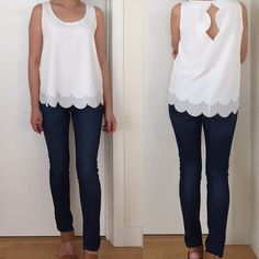 @maisonjules Tiered Scallop-Trim Tank Top in Snow White (size XS) - review on www.whatjesswore.com