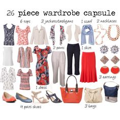 26 piece wardrobe capsule - mature lady by deenoney, via Polyvore  I don't particularly like these items, but I do like the amount of each type of clothing for a wardrobe