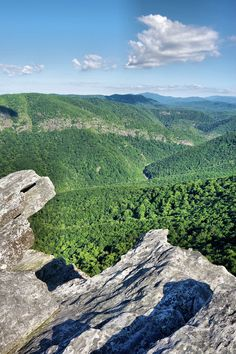View from atop Hawksbill Mountain above Linville Gorge in Pisgah National Forest in the North Carolina mountains