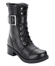 Black Katerina Leather Motorcycle Boot - Women by Harley-Davidson Footwear #zulily #zulilyfinds