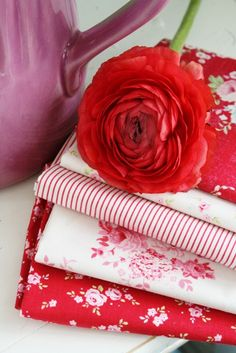 Rosy Red Cottage, red floral fabrics.