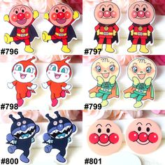60pcs Mixed Japan Cartoon Anpan Man Flat Back Resin Assorted Resin Cabochon DIY Craft For Home Decoration Accessories 10PCS Each