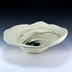 Coastal Ceramic Sculptural Bowl with Glass Detail - judi tavill ceramics