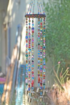 Bohemian Decor Unique Beaded Wind Chimes with brass bells, Handmade House Warming Gift Handmade Home, Carillons Diy, Crafts To Sell, Diy Crafts, Bohemian Decorating, Diy Wind Chimes, Glass Wind Chimes, Homemade Wind Chimes, Crystal Wind Chimes