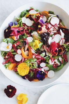 edible flower spring salad   via http://laurenkelp.com