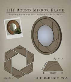 Build a DIY Round Mirror Frame – Building Plans by Build Basic www.c… – Woodworking Techniques Wood Mirror, Diy Mirror, Round Wooden Mirror, Wood Turning Projects, Diy Wood Projects, Woodworking Techniques, Woodworking Projects Diy, Wood Plans, Round Mirrors