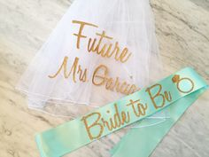 bachelorette party sash and veil set, bachelorette veil, bride to be sash, future mrs veil, personalized veil, mint and gold glitter sash by myeverydayparty on Etsy https://www.etsy.com/listing/260935534/bachelorette-party-sash-and-veil-set