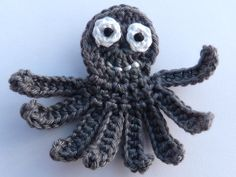 🐙 Aplique de Polvo em Crochê  - /  🐙 Apply in Octopus with Crocheting -