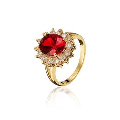 Gold Plated Red Oval Rhinestone Zircon Alloy Finger Ring