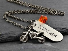 Personalized Dirt Bike Girl Necklace