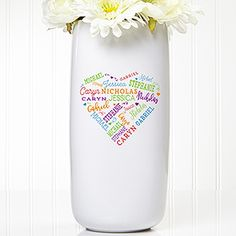 Pair the Close to Her Heart Ceramic Vase with a beautiful floral arrangement for the perfect way to display all her loved ones names. Each vase will be printed with up to 21 names creatively displayed within the shape of a heart. Personalized Cookies, Personalized Gifts For Men, Perfect Mother's Day Gift, Great Gifts For Mom, Personalized Garden Stones, Word Art Design, Good Birthday Presents, True Gift, Personalised Blankets