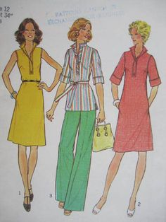 See Sally Sew-Patterns For Less - Wide Leg Pants Dress Top Vintage Fashion Simplicity 6987 Pattern Sz. 12, $8.99 (http://stores.seesallysew.com/wide-leg-pants-dress-top-vintage-fashion-simplicity-6987-pattern-sz-12/)