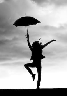 Silhouette Girl With Umbrella By Babydobbinsetsy Via