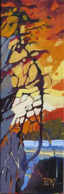 Rick Bond, Crimson Sentinel, Acrylic on Canvas 18 X 6 in. #CanadianArt #Painting #Abstraction