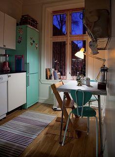 turqouise fridge.