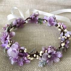 Purple toddler flower crown girl's flower crown by HollyHoopsArt
