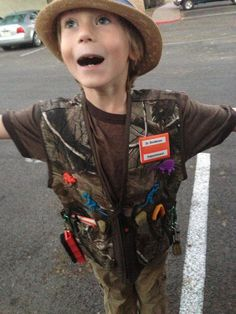 "Mom made Paleontologist costume  ** hunting vest + safety pins + mixed lot of dinos + random ""dig items"" found around the house and my aspiring paleontologist was ready for a great Halloween!!!  He loves this costume!!!"