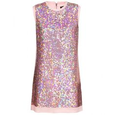 Marc by Marc Jacobs Stelli Sequinned Silk-Chiffon Dress ($980) ❤ liked on Polyvore featuring dresses, tops, marc jacob, senoran rose, sequin dresses, retro style dresses, zip back dress, back zipper dress and sequin embellished dress