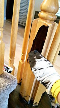 How to Refinish a wood banister with gel stain and chalk paint to a beautiful farmhouse staircase. Painted Banister, Stair Banister, Painted Staircases, Wood Railing, Wood Staircase, Staircase Remodel, Banisters, Staircase Design, Staircase Ideas