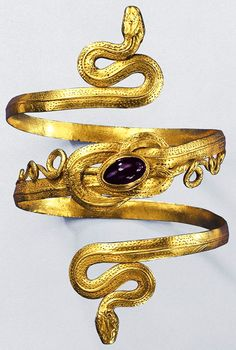 Gold Snake Bracelet with garnet, from the Greek-Hellenistic period, century BC. This is 1100 years after Aissa's story, but I thought that the Lady might have snake bracelets too. Greek Jewelry, Gold Jewelry, Jewelery, Jewelry Accessories, Jewelry Design, Mexican Jewelry, Kids Jewelry, Jewelry Gifts, Handmade Jewelry