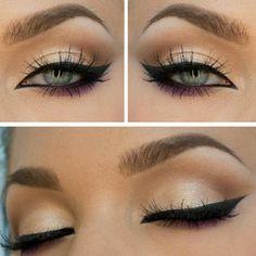 Perfect eye make up cream color snd black eyeliner Pretty Makeup, Love Makeup, Makeup Inspo, Beauty Makeup, Makeup Tips, Beauty Tips, Makeup Ideas, Gorgeous Makeup, Makeup Tutorials