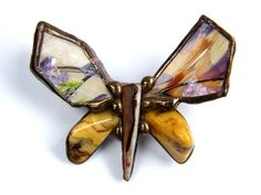 Brooch:+Small+butterfly+painted+from++Witrażka+-+jewelry+made+of+semiprecious+stones+by+DaWanda.com