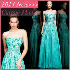 2014 Dazzling Vestidos de gala Turquoise/Pink Open Back Beaded Evening Prom Party Dress With Full Sequins Chiffon EV603