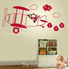 Aeroplane nursery decal Monogram Wall Decal door secretofthecat