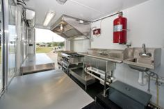 An interior look at the Doughworks food truck from front to back.