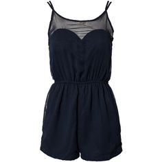 Ax Paris Sweetheart Chiffon Playsuit ($30) ❤ liked on Polyvore featuring jumpsuits, rompers, playsuits, dresses, shorts, navy, womens-fashion, sweetheart neckline jumpsuit, blue jump suit and blue romper