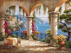 Terrace Arch II by Sung Kim - Kitchen Backsplash / Bathroom wall Tile Mural Tile Mural Store-Landscapes,http://www.amazon.com/dp/B00A5TEU3O/ref=cm_sw_r_pi_dp_f6.utb0Q4EJHXTQE