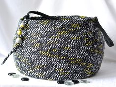 Modern Black Basket, Handmade Coiled Fabric Basket, Unique Knitting Basket, Lovely Tote Bag, Beautiful Decorative Basket, Gift Basket by WexfordTreasures on Etsy