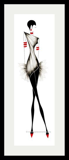 Vogue 2  Fashion Illustration  Interior by ArtFashionByRomilly, £15.00  Would make fab wall art.