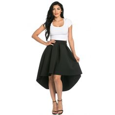 High-Low Pleated Scuba Midi Skirt in Black ($35) ❤ liked on Polyvore featuring skirts, flared midi skirt, mid calf skirts, mullet skirt, knee length pleated skirt and pleated high low skirt