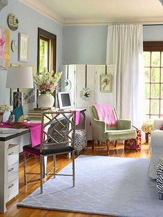 Hang curtain rods near the ceiling to make a room appear taller than it really is: http://www.bhg.com/decorating/small-spaces/apartments/small-space-apartment-makeover/?socsrc=bhgpin030514stylishandchic&page=5