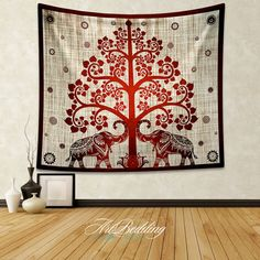 Elephant Tapestry,Indian bodhi tree wall tapestry,Elephant tapestry wall hanging, bohemian lotus tapestries,  elephant sacred tapestries