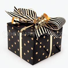 Wrapco Eco micro gold dot on matt black recycled gift wrap, tied with metallic gold curling ribbon and black & cream grosgrain.c… - Geburtstag Present Wrapping, Creative Gift Wrapping, Creative Gifts, Wrapping Ideas, Black Christmas Decorations, Black Wrapping Paper, Gold Dots, Metallic Gold, Recycled Gifts