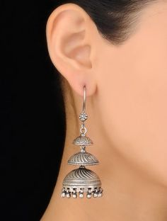 Pair of Ethno Silver Jhumkis