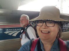 Boarding Amtrak Downeaster in Boston headed to Brunswick, ME. Wearing my white tee, denim shirt and bucket hat. Ultralight Backpacking, In Boston, White Tees, Denim Shirt, Bucket Hat, Maine, Take That, Hats, How To Wear