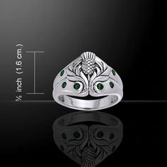 Celtic Scots Thistle Ring .925 Sterling Silver Scottish Thistle Ring - in Sterling Silver with emerald glass crystals Bravery - Courage - Loyalty - Fortitude - Endurance The Guardian Thistle of the Sc