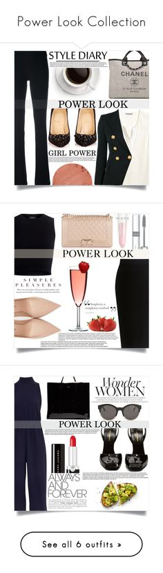 """Power Look Collection"" by mistressofdarkness ❤ liked on Polyvore featuring Pierre Balmain, Balmain, Christian Louboutin, Chanel, Lipstick Queen, Theory, Yves Saint Laurent, By Terry, Rodin and Ted Baker"