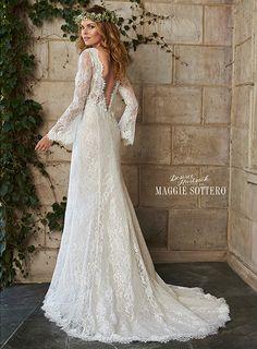 Dahlia - by @maggiesottero available at Bucci's Bridal in Pewaukee, WI | www.buccisbridal.com  #bridalgown #weddingdress #bridalshop #pewaukee #wibride #marriedinmilwaukee #maggiesottero #sheath #lace #longsleeves #lowback #vneck