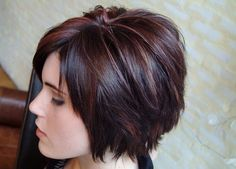 Choppy Bob | Cranberry and blonde over dark brown | Dathan Hunter Salon