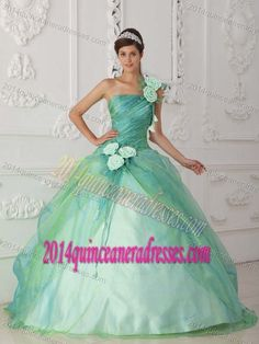 a614c39d0a2 Exquisite Apple Green One Shoulder Organza Quinceanera Dress with Flower  Sissi Kleid