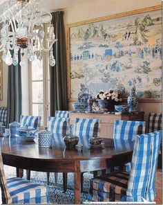 Asian Mural + Ginger Jars Complete This Dining Room by Bunny Williams. - Asian Mural + Ginger Jars Complete This Dining Room by Bunny Williams… - Wallpaper Rose, Chinoiserie Chic, Blue Rooms, Dining Room Furniture, Dining Rooms, Dining Chairs, Club Chairs, Room Chairs, Diy Furniture