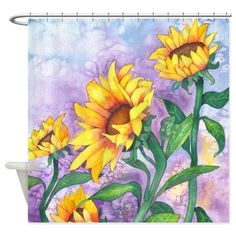 Sunflowers Watercolor Shower Curtain on CafePress.com