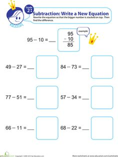 How do your kid's subtraction skills stack up? His academic confidence will soar to new heights after practicing some two-digit subtraction! 2nd Grade Math, Grade 1, Teaching Subtraction, Math Lessons, Worksheets, Preschool, Teacher, Writing, Education
