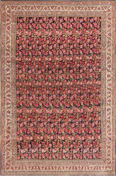 Antique Blue Background All Over Design Persian Bidjar Carpet