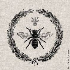 Vintage Queen Bee French wreath Collage - Digital  Image No.103 Instant Download Transfers to Fabric & Paper Prints