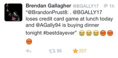 Prusty / Gally tweet about the credit card game #2